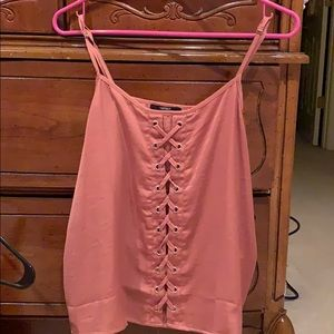 Forever 21 large mauve tank top criss cross